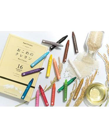 日本製 mizuiro 和風傳統安全無毒蠟筆米蠟筆 (16 色)